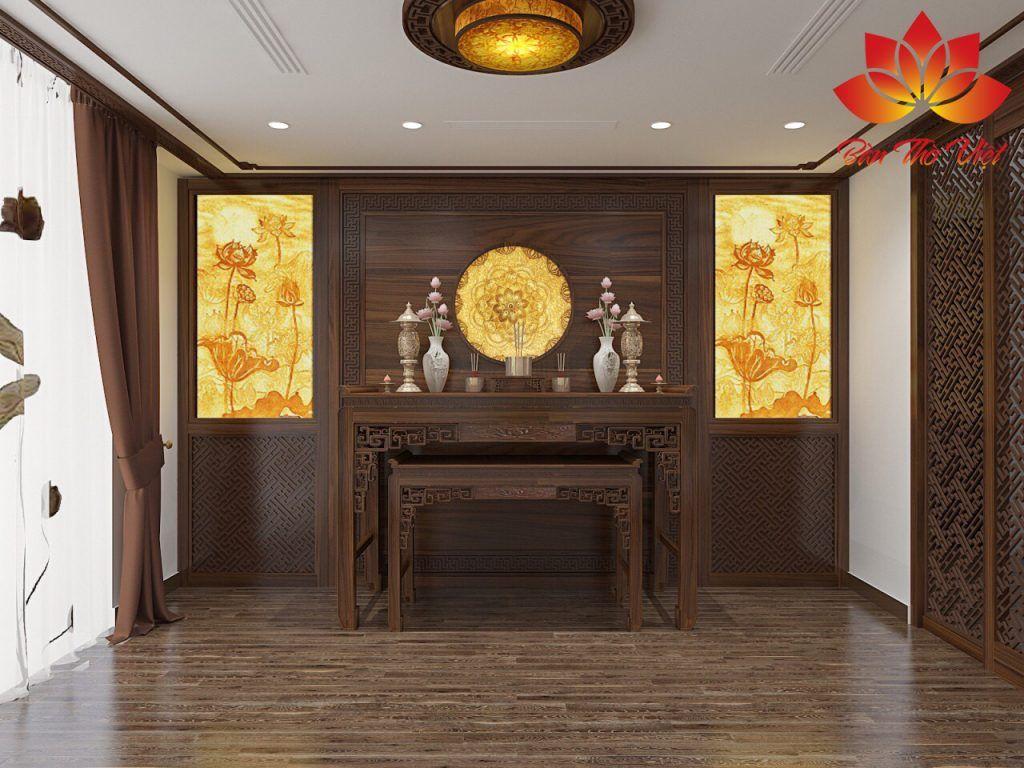 Phòng thờ 3 gian được thiết kế thông minh và hiện đại, tiết kiệm không gian
